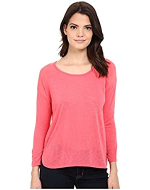 Jeans Women's 3/4 Sleeve Mixed Media Top