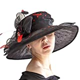 June's Young Women Hats Organza Lace Polka Dot Black White Wedding Wear Fedoras (Black)