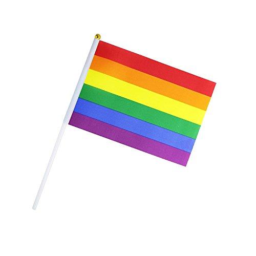 Seipe Rainbow Gay Pride Stick Flag Hand Held Mini Flag LGBT Rainbow Flag (8 flags) ()