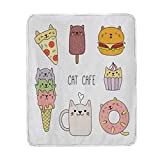 JOSENI Throw Blanket,Cats Cafe Hand Drawn in Food Illustration Pizza Ice Cream Cupcake Sweetness Theme,Microfiber All Season Bed Couch,30' x 50'