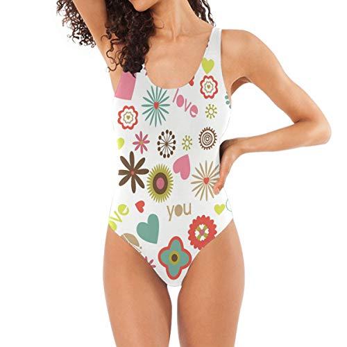 HEOEH Cute Love Heart Flower One Piece Swimsuit Swimear Bathing Suits Beach Suit for Women