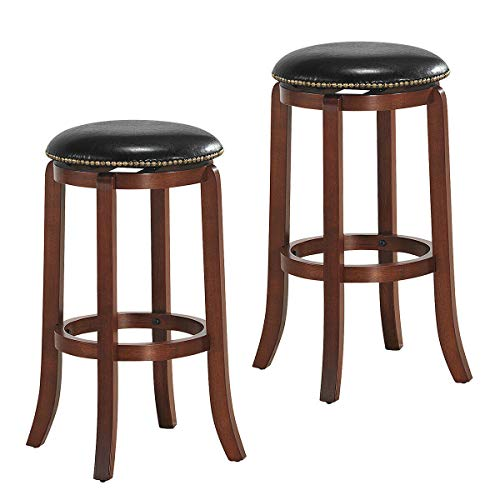 COSTWAY 29-inch Swivel Bar Stool, Black Leather Padded with Upholstered, Wood Backless Rotatable Chair with Foot Ring, Counter Height Seat Suitable for Kitchen, Bar and Club Set of 2, 29