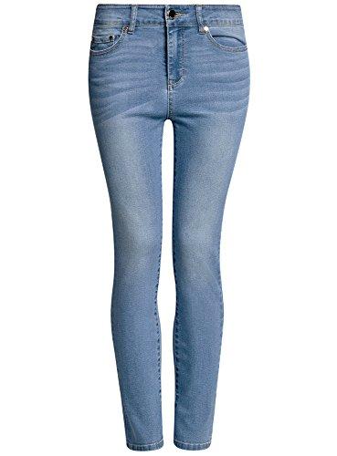 oodji Ultra Mujer Vaqueros Skinny de Cintura Alta Azul (7000W)