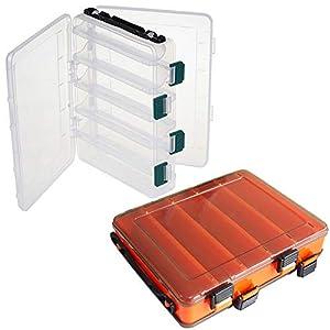 NAMIS 2pcs Fishing Tackle Boxes, Transparent and Orange Fishing Tackle Storage Organizer Boxes...