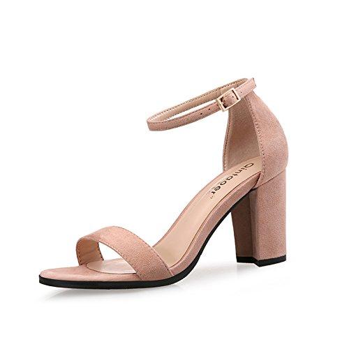 VIVIOO VIVIOO VIVIOO Hochhackige Schuhe mit hohen Absätzen Sandaletten Damen Sommer Mittelschüler Dicke Schnalle Hochhackige Schuhe Hochhackige Schuhe Römische Schuhe 10c578