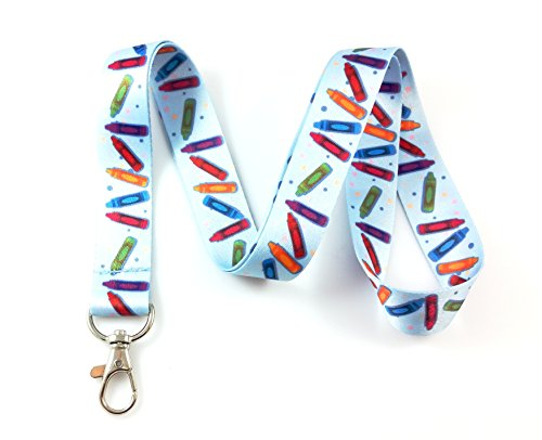 Education Themed Lanyard Key Chain Id Badge Holder (Crayons)