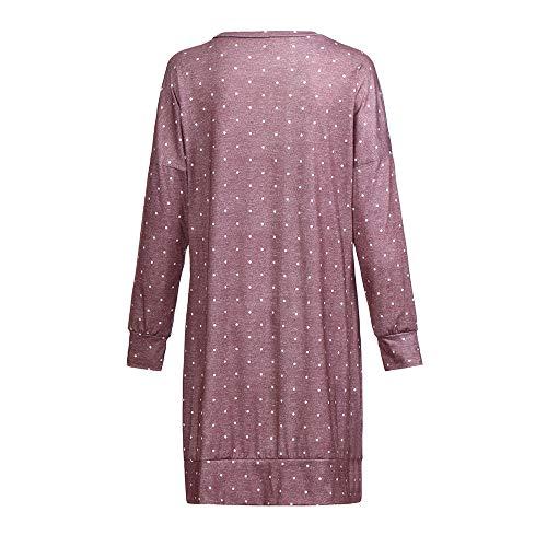 Tops Impression Vrouge Chic Casual Fathoit Tunique Dot V Blouse Chemise Femmes Manches Longues Chemisier Femme Neck w6wpHq