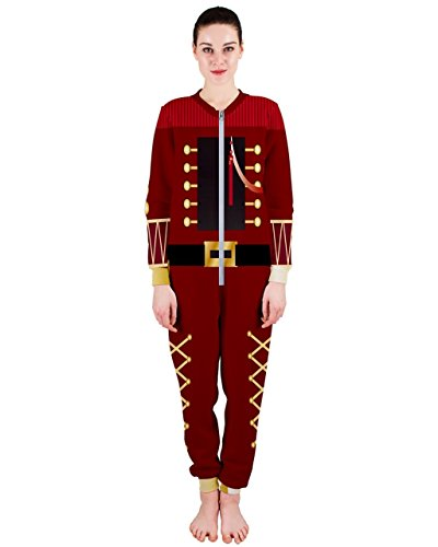 PattyCandy Womens Christmas Nutcracker Costume One-Piece Jumpsuit Pajamas-XL