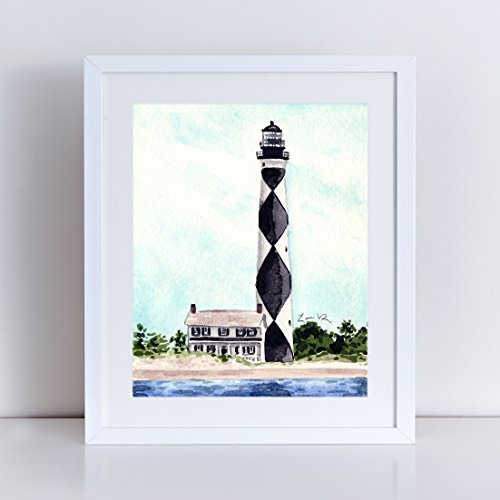 Cape Lookout Lighthouse Art Print Watercolor Painting Wall Home Decor Outer Banks North Carolina Coast Light House Inspirational Nautical Beach House Coastal Southern Style Canvas