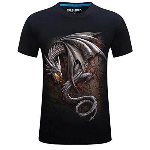 (T-Shirts for Men, MmNote Casual Round Neck Fire-Breathing Dragon Print Rock Style Modern Classic Elastic Antibacterial Tees Black)