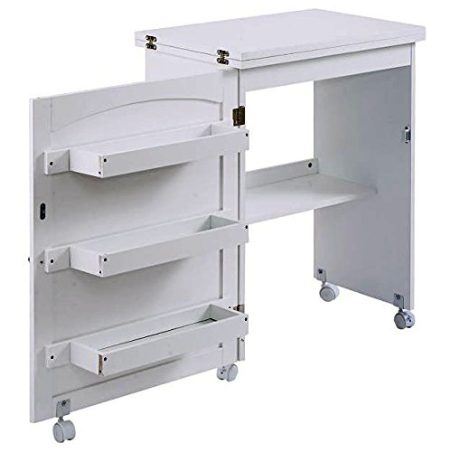 Craft Table Shelves Storage with Wheels White Folding Sewing Furniture Cabinet Home + eBook