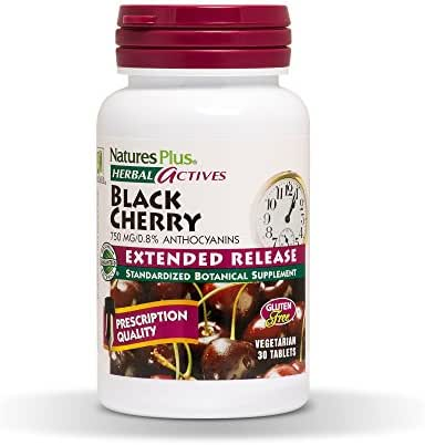 NaturesPlus Herbal Actives Black Cherry, Extended Release - 750 mg Anthocyanins, 30 Vegetarian Tablets - Joint Support, Antioxidants, Anti-Inflammatory - Hypoallergenic, Gluten-Free - 30 Servings
