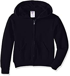 Jerzees Youth Full Zip Hooded Sweatshirt, Black, Large