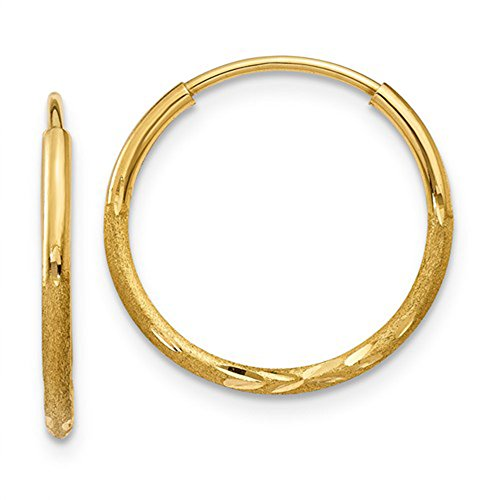 14K Yellow Gold Diamond Cut Continuous Endless Hoop Earrings, 14mm (1.25mm Tube) 14k Yellow Gold Satin Hoop