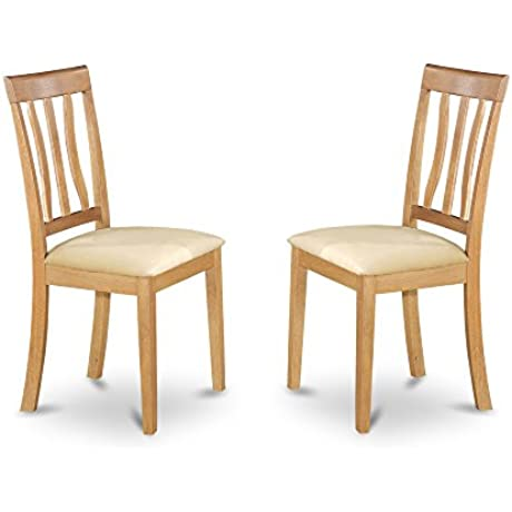 East West Furniture ANC OAK C Dining Chair Set With Cushion Seat Oak Finish Set Of 2