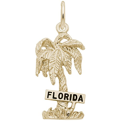 Gold Plated Florida Charm - Gold Plated Florida Palm Charm, Charms for Bracelets and Necklaces