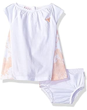 Baby Girls' Organic Ruffle Sleeve Dress and Diaper Cover Set