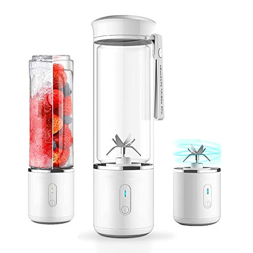 Glass Portable Smoothie Blender, HJA USB Rechargeable Personal Travel Blender, 17oz Detachable Mixer Juicer Cup, Household Office Fruit Mixing Machine, FDA BPA ()