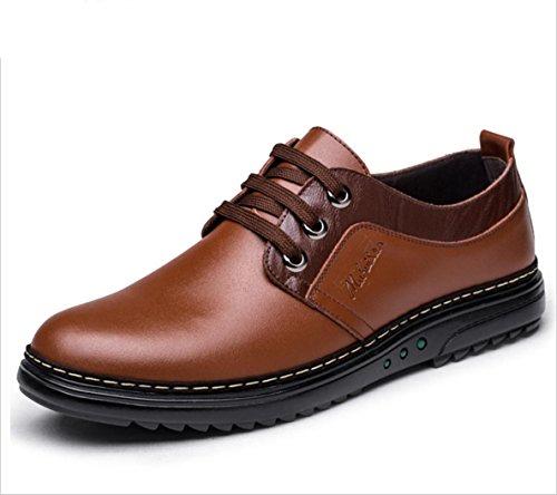 WZG zapatos ocasionales de negocio de los nuevos hombres de la versión coreana de los zapatos de los hombres británicos, zapatos zapatos de cuero planas 9 Brown