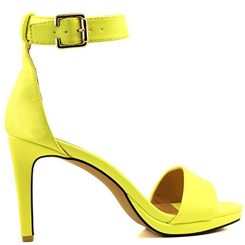 Women's Shoes Evening Strap Pump Platform High Casual PU Sandal Heel Toe Open Dress Ankle Yellow Buckle OOq4r8