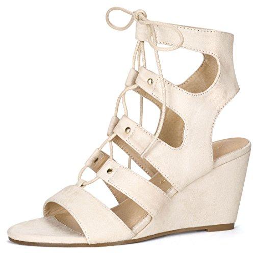 en Toe Cutout Wedge Heel Lace-up Sandals (Size US 7) Beige ()
