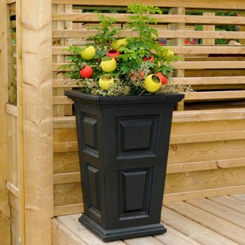 24'' Tall Black Planter Self-watering Tray 2-pack by New England