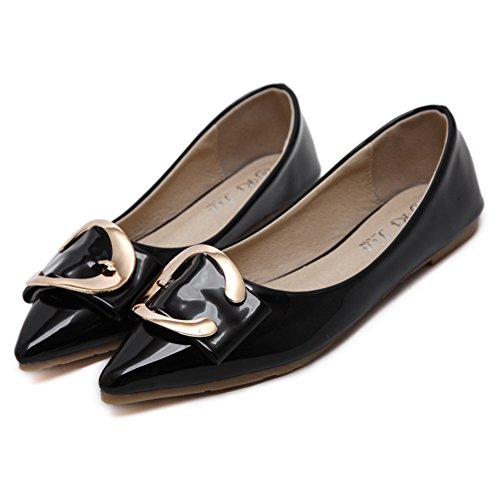 T-july Scarpe Da Donna Scarpe Casual A Punta Morbida Balletto Comfort Slip On Black