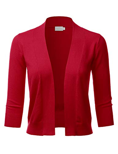 - LALABEE Women's Classic 3/4 Sleeve Open Front Cropped Bolero Cardigan-RED-M