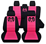 Fits 2012 to 2018 Dodge Ram Front and Rear Ram Seat Covers 22 Color Options (40-60 Rear with Armest, Black Hot Pink)