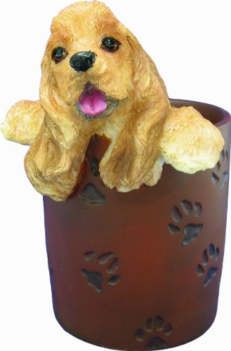 l Cup Holder with Realistic Hand Painted Cocker Spaniel Face and Paws Hanging Over Cup, Buff (Cocker Spaniel Collectables)