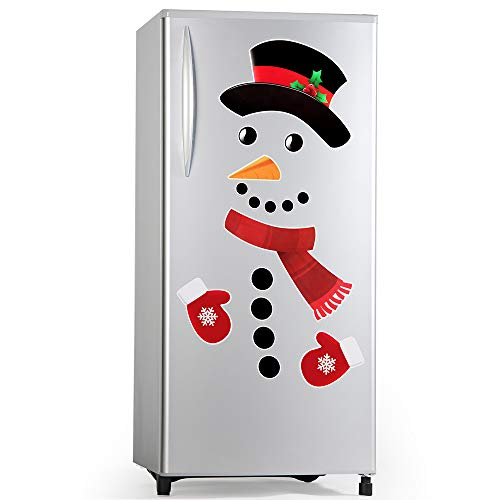 Snowman Christmas Decorations (D-FantiX Snowman Refrigerator Magnets Set of 16, Cute Funny Fridge Magnet Refrigerator Stickers Holiday Christmas Decorations for Fridge, Metal Door, Garage, Office Cabinets)