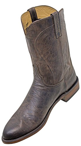 Roper Boots Mens Heritage (Lucchese Heritage HL3500 Mens Chocolate Mad Dog Goat Leather Western Roper Boots …14D)