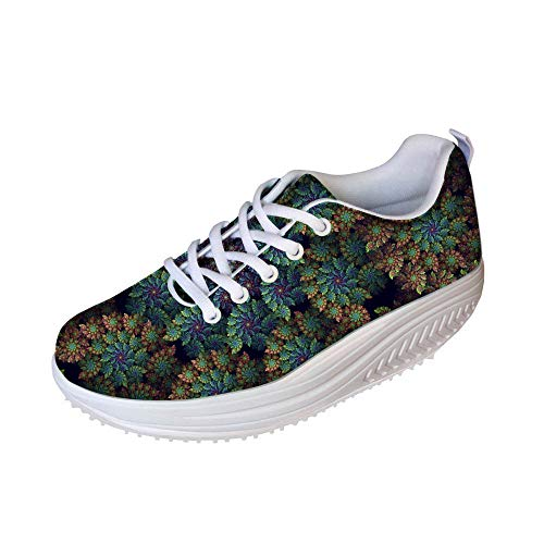 Bigcardesigns Green Floral Shoes Mesh Surface Breath Walking Wedge Sneakers(Size US 10=EUR 41)