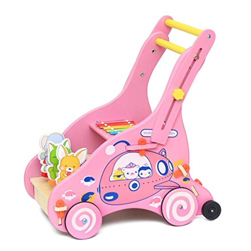Fine Wooden Cartoon Push-Pull Toy,Multifunctional Baby Walker Toys-Wooden Learning Walk Sit-to-Stand Push and Pull Toy- Walking Carts for Boys Girls (Pink)