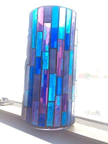 Stained Glass Mosaic Vase in Deep Blue and Purple for Mother s Day Violet Bouquets