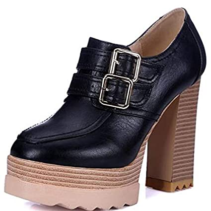 ZHZNVX Zapatos de Mujer Botas de Microfibra para Primavera y otoño Botines de tacón Grueso y