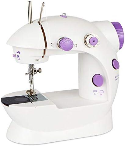 Máquinas de coser,Mini Máquina de Coser Eléctrica,Del Hogar Máquina de Coser Portatil y Versátil de Ajuste 2 Velocidad,con Cortahilos+Lámpara+Pedal+6 bobinas+aguja, para el Hogar, Principiantes.