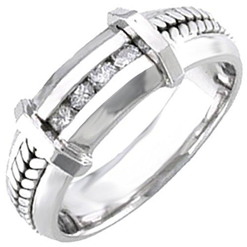 - 0.12ct TDW White Diamonds 18K Gold Braided Women's Wedding Band (G-H, SI1-SI2) (7mm) Size-8c4
