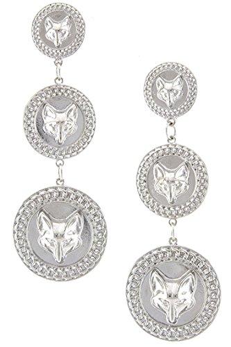 The Duchess Fox Costume (DIVA & DUCHESS FOX HEAD COINS DANGLE EARRINGS (Silver))