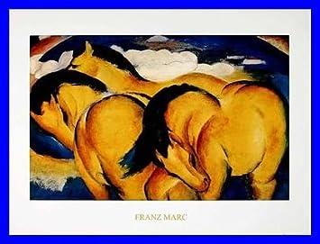 Franz Marc Kleine Gelbe Pferde Poster Kunstdruck Mit Alu