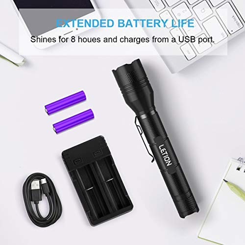 LETION LED Flashlight, Rechargeable Flashlight with 2x18650 Rechargeable Battery Charger USB Cable, Super Bright with 1500 Lumen,5 Modes Zoomable, Waterproof Flashlight for Outdoors and Indoors.