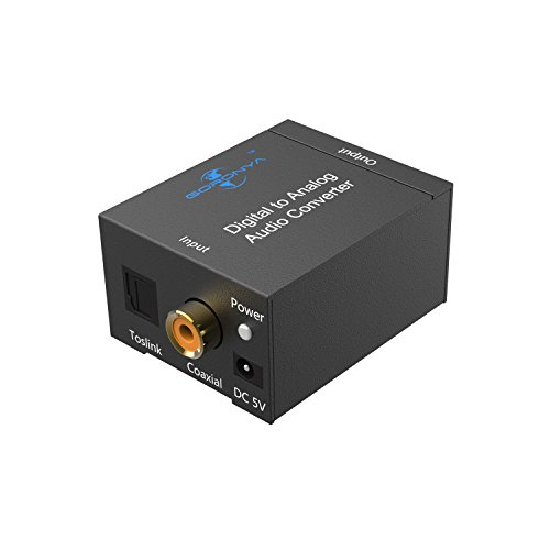 Goronya Digital Optical Toslink Coaxial to Analog RCA Audio Converter Adapter with 3.5mm Jack Output (Rca Jack Converter)