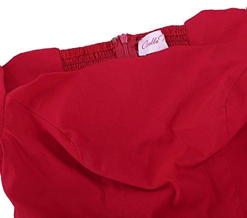 Mujer Estampado V Rojo Hombro Belle Para Poque Delgado Sin Retro Manga Vintage 126 Vestido Corta Cuello Lápiz wBHIBSOqC