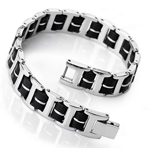 INBLUE Men's Stainless Steel Rubber Bracelet Link Wrist Silver Tone Black Rectangular