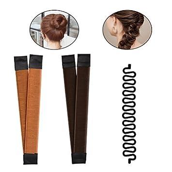 Romote - 2 moldes para hacer moños de pelo (marrón/rubio) + 1 herramienta de trenzado de pelo francés para manualidades (negro): Amazon.es: Belleza