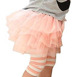 Lovely Baby Kids Girl Culotte Leggings Tulle Tutu Skirt Cropped Capri Pants (90/1-2Years, Pink)