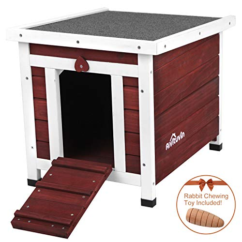 Aivituvin Wooden Dog and Cat House Outdoor and Indoor,Feral Pet Houses for Cats Insulated,Kitty Condo with Asphalt roof.(Aubur, Cat House #12) ()