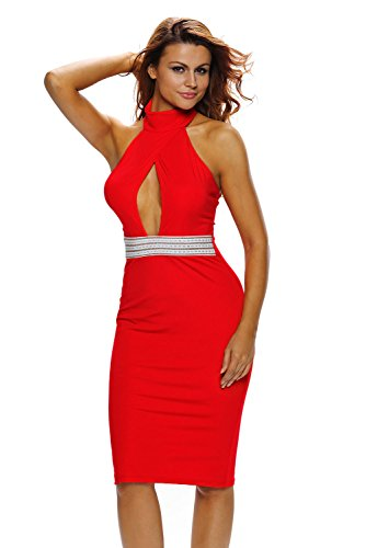 Out Peep Neck Mock Club Halter Evening Sexy Sheer Party Cut Women's Hole CutePaw Dress Red Bodycon tq1wX8E