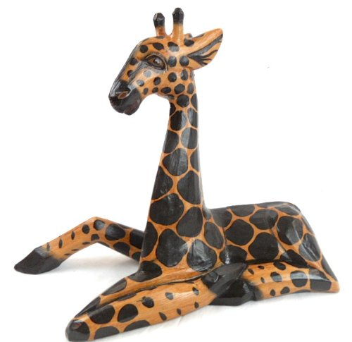 Hand Carved Wooden African Baby Giraffe Statue Laying Down