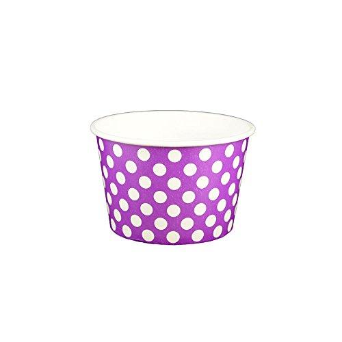 (Yocup 8 oz. Polka Dot Purple Paper Ice Cream / Frozen Dessert Cup - 100 ct)